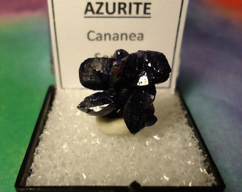 Sale Gemmy AZURITE Natural Double Terminated Navy Blue Crystal Cluster Mineral Specimen In Perky Box From Sonora Mexico