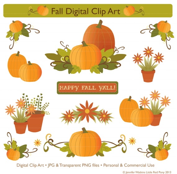 Digital Clip Art Fall Theme for Cardmaking Scrapbooking and