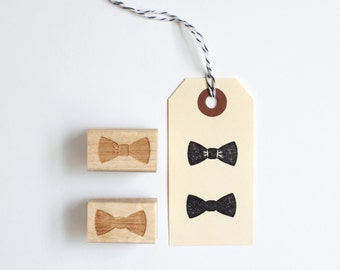 NEW! Cute Bow Tie Stamp in 2 Styles & Sizes (Wood Mounted) Bowtie Ribbon Rubber Stamp for packaging, wedding favors, fabric, stationery, DIY