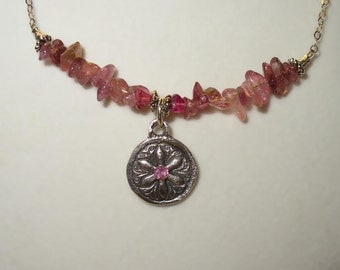 SALE! Pink Tourmaline Pendant Necklace ~ Genuine Natural Gem, Gemstone Beads, Sterling and Fine Silver
