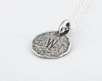 Initial W Handstamped Sterling Silver Pendant and Necklace - with Gift Box