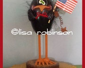 CLANCY patriotic crow egg gourd summer Americana sunflower flag rusty stars ofg lisa robinson HAFAIR prim chick