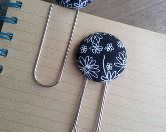 Whimsical Black and White Flowered Fabric Covered Button Bookmarks with Large Paper Clip
