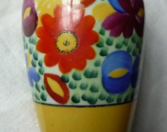Colorful Boho Chic Flower Vase - Handpainted Yellow Porcelain - Nippon Japan - Hand Painted Floral Design - Multicolor RED Purple BLUE Green