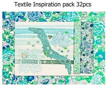 Large Textile Inspiration Craft PackTurquoise Liberty Tana Lawn, Lace,Motifs, Buttons. Spring Floral, Summer Cottage Chic Craft Pack (32pcs)