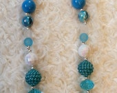Christmas Bubblegum Chunky Necklace with Blue and White Beads