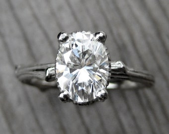 Oval Moissanite Twig Engagement Ring: White, Yellow or Rose Gold; 1.5ct Forever Brilliant ™