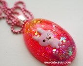 Easter Necklace, Easter Egg Jewelry, Easter Bunny Egg Shaped Glitter Necklace, Easter Gift for Girl, Girls Easter Jewelry by isewcute