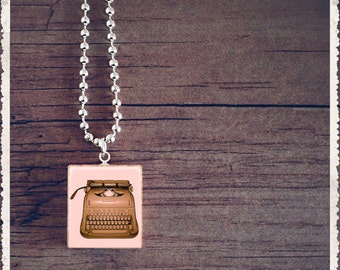Scrabble Tile Art Pendant - Vintage Typewriter Pink - Scrabble Jewelry Charm - Customize