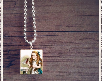 Scrabble Tile Art Pendant - Alice Drink Me - Scrabble Jewelry Charm - Customize - Choose Your Style