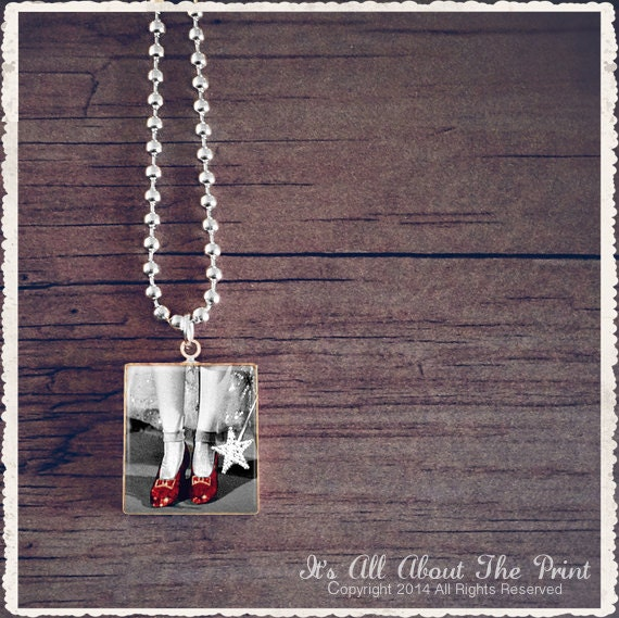 Scrabble Pendant Necklace - Ruby Shoes Black And White Wizard Of Oz - Scrabble Jewelry Charm -