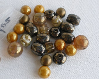 Assorted Natural Tone Old Glass Bead Mix 1/4lb 1/2lb or 28 Gram Sample Pack You Choose