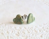 Gold Lace Mint Heart Post Earrings