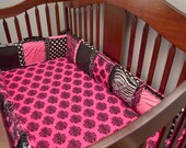 Custom Crib Bumpers in Hot Pink and Black and Zebra