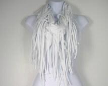 White Fringe Scarf Cotton Fringed Infinity Scarves Cotton Summer Infinity Scarves Circle Scarves with Fringe  Fringed T Shirt Scarves