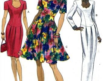 Vogue 8254 Easy Evening Dress Dropped Waist Shaped Neckline Size 6 8 10 Uncut Vintage Sewing Pattern 1992