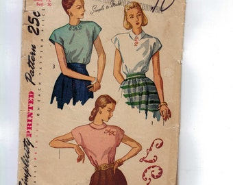 1940s Vintage Sewing Pattern Simplicity 2311 Misses Blouse Back Buttoning Size 12 Bust 30 1940s 40s 1948  99