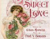 Large digital download Sweet Love Pink Roses vintage Music cover Valentine single image ECS buy 3 get one free