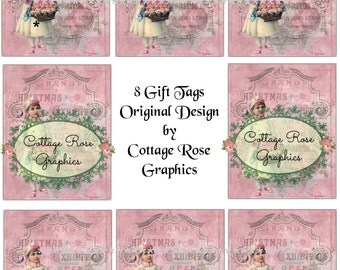 Pink Christmas Grand Exhibition Gift tag sheet Large digital download ATC ACEO gift tags ECS buy 3 get one free