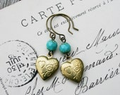 Vintage Heart Locket  Earrings