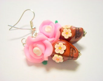 Brown and Pink Day of the Dead Rose and Sugar Skull Earrings Small