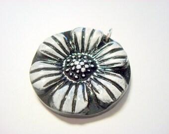 Black and White Daisy Handmade Polymer Clay Pendant