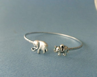silver elephant bracelet wrap style