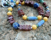 Necklace, Soulful Western Cowgirl, Natural Turquoise Lapis Gemstones, All Sterling Silver, Natural Earthy Organic, Blue Yellow Green Brown
