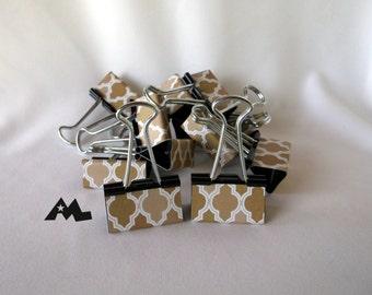 "Binder Clips - ""Champagne Lattice"" 12 medium binder clips"