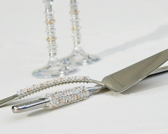 Cake Server Knife Serving Set CHAMPAGNE WEDDING Table Settings - SWAROVSKI Crystal Beaded Cake Cutting Set