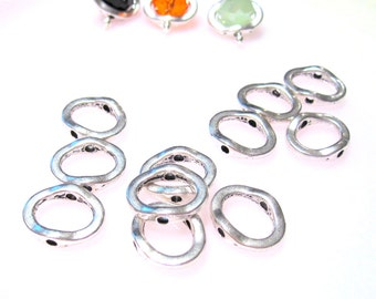 50% Off Beads, Metal Bead Frames, 12 pcs of Antique Silver Bead Frames measuring 12.8x15mm BF0010