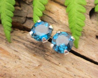 London Blue Topaz Earrings in Gold, Silver, Platinum, or Palladium with Genuine Gems, 6mm - Free Gift Wrapping