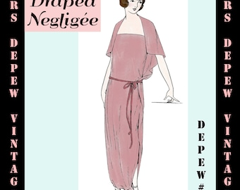Vintage Sewing Pattern 1920's Flapper Draped Negligee Nightgown 3034 -INSTANT DOWNLOAD-