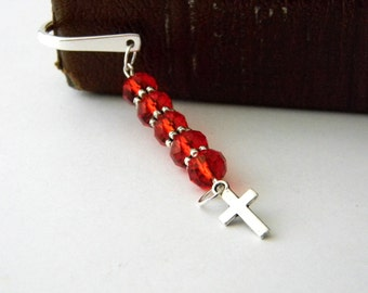 Simple Cross Bookmark with Red Glass Beads