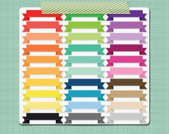 Stitched Ribbon Clip Art Images Ribbon Clipart Banners - Digital Scrapbooking Frames Labels - Personal and Commercial Use INSTANT DOWNLOAD