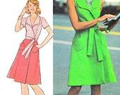 1970s Dress Pattern Simplicity 6844 Shawl Collar Princess Seam Front Wrap Dress Womens Vintage Sewing Pattern Bust 34