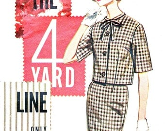 1960s Dress Pattern Butterick 2108 Two Piece Dress Sheath Skirt Tie Collar Semi Fitted Jacket Womens Suit Vintage Sewing Pattern Bust 32