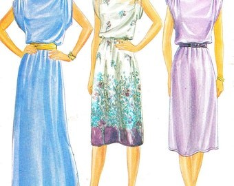 1970s Dress Pattern Butterick 3790 Cap Sleeve Day Evening Maxi Dress Midi Dress Womens Vintage Sewing Pattern Size 10 Bust 32 1/2 Uncut