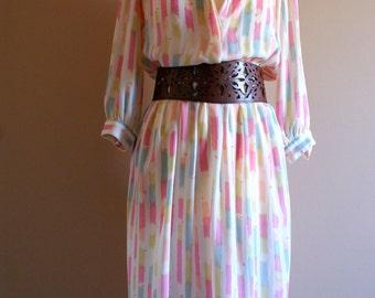 Pretty 80s Pastel Print Summer Dress