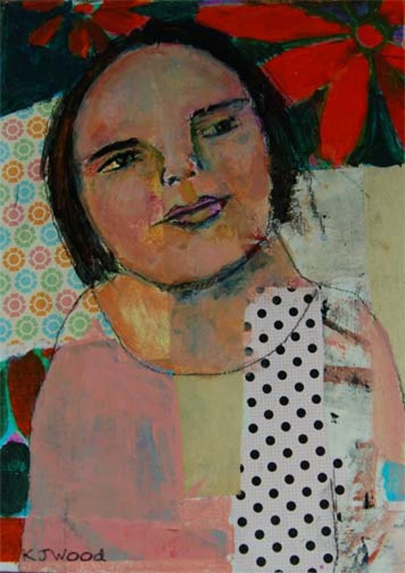 Acrylic Portrait Painting, Collage, Poinsettias Made Her Nostalgic, Christmas, Pink, Red, Green, Polka Dots, Wistful 9x12 canvas panel