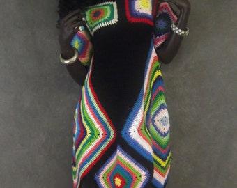 Retro Crochet Dress, Granny Square Dress, Black Crochet Dress,Handmade, Women, 70's Style Crochet Dress