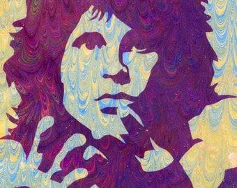 "Jim Morrison Pop Art Ebru Portrait marbling print 5""x7"" archival Giclee Print"