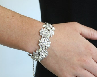 Wedding Cuff Bracelet Swarovski Crystal Vintage Leaf Bracelet Leaves Jewelry Bridal MIER CRYSTAL