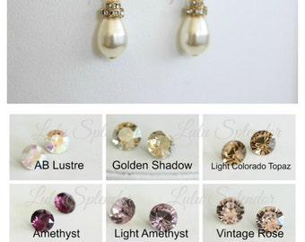 Vintage style Wedding Earrings Color Rhinestone Bridal Earrings with Swarovski Pearl and Crystals, Wedding Jewelry LEILA COLOR