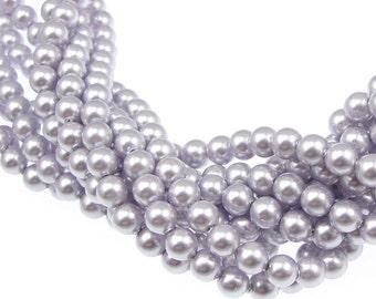 100 LAVENDER 4mm Light Purple Pearl Beads - 5810 Swarovski Crystal Pearls - Very Pale Purple Beads