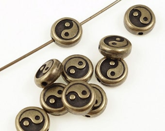 Antique Brass Beads Brass Oxide TierraCast Yin Yang Mindfulness Bronze Beads Zen Meditation Yoga Beads for Jewelry Supplies (P1217)