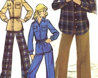 1970s Pants Pattern Wide Legged Simplicity Top Shirt Blouse Vintage Women's Misses Size 12 Bust 34 Inches