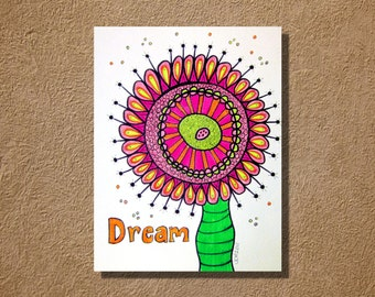 Dream Flower Original Neon Highlighter and Ink Artwork 9 x 12