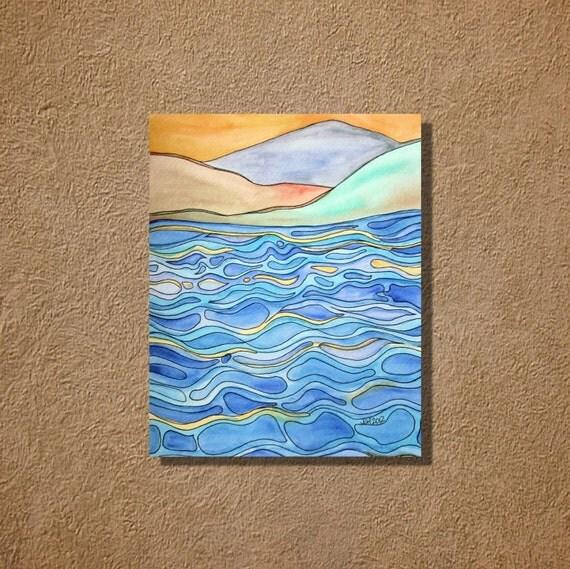 Ocean Waves One Original Watercolor Zentangle Painting 9 x 12