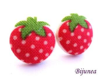 Strawberry earrings - Strawberry stud earrings - Strawberry studs - Strawberry posts - Strawberry post earrings Fruit earrings sf1164